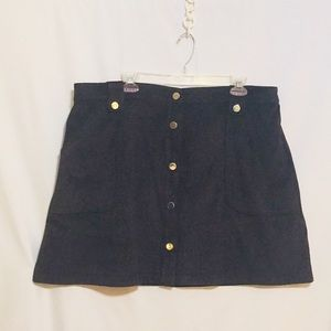 Super Soft Navy Suede-ish 7th Ave Skirt w/Pockets